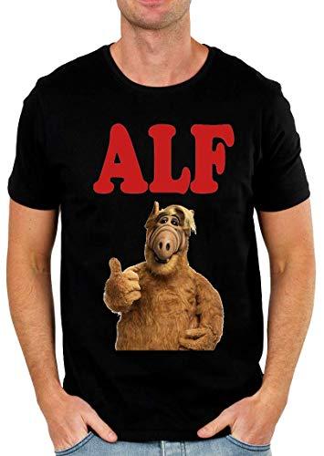 Alf Portrait Tv Show Design Herren T-Shirt Schwarz X-Large