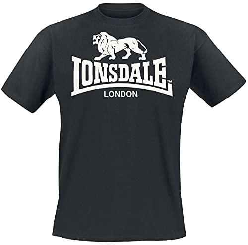 Lonsdale T-Shirt Logo - Camiseta Hombre, Color Negro, Talla Large
