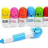 PULABO 6pcs Mini Stylo Pilule de Vitamine rétractable avec Six émoticônes Mignonnes nouveauté Capsule Stylo Bille faveur Cadeau Couleur aléatoire Durable et utile Pratique