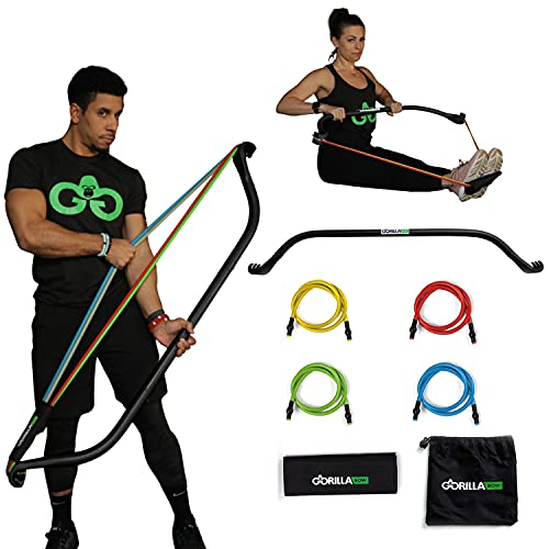 Original Gorilla Bow Portable Home Gym Resistance Bands and Bar System for Travel, Fitness, Weightlifting and Exercise Kit, Full Body Workout Equipment Set (Original Bow, Black, Base Bundle)