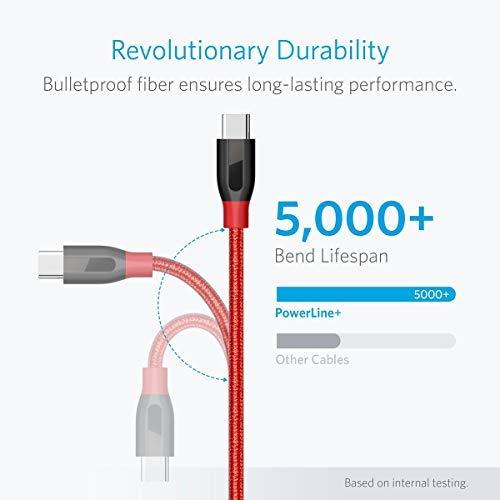 Anker PowerLine+ 90cm USB C Kabel auf USB 3.0 A, lebenslange Garantie, sehr Beständig für USB Typ-C Geräte Inklusive Galaxy S8, S8+,S9,S10, MacBook, Sony XZ, LG V20 G5 G6, HTC 10, Xiaomi 5 usw.(Rot)
