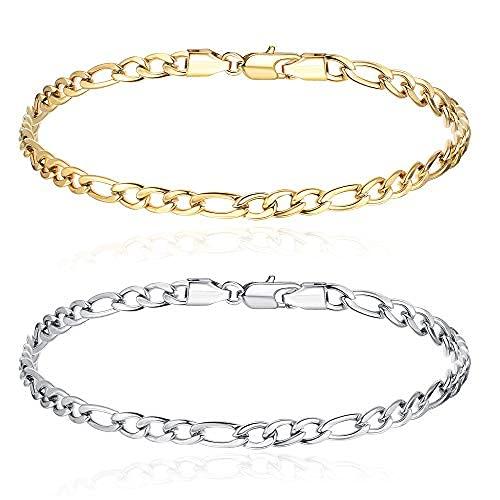 2 pulseras Figaro para hombre y mujer, de acero inoxidable, pulsera de cadena Mens Silver Gold, 7 pulgadas, 8 pulgadas, 8,5 ...