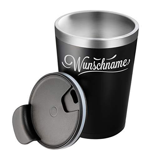 Trinkbecher LED mit Wunschname - Leuchtet bei Berührung - Personalisierte Geschenke - Coffe to go Becher - Thermobecher Isolierbecher Kaffeebecher
