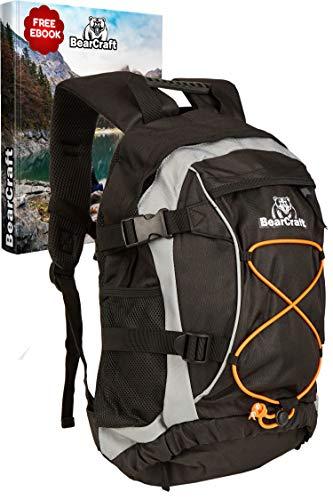 BearCraft Rucksack mit **GRATIS eBook** | Multifunktionaler Fahrradrucksack in schwarz | Trekking-Tasche für Joggen Wandern Fahrrad Reisen und Sport