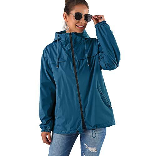 JMITHA Regenmantel Wasserdicht Damen Windbreaker Jacke Winddicht Leicht Windjacke Outdoorjacke Mit Kapuze, Atmungsaktiv für Wandern Radfahren Camping (Blau, S)