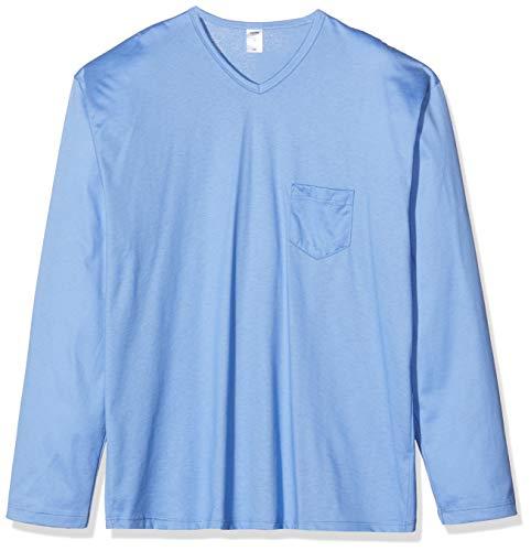 CALIDA Herren Relax Imprint 1 Zweiteiliger Schlafanzug, Blau (Bonnet Blue 446), Large (Herstellergröße:L)