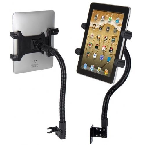 "Tablet Mount for Car, Hands-Free Robust Seat Rail Tablet car Holder for Apple iPad Mini iPad Air iPad Pro, Samsung Galaxy TAB A E S4 S3 (7-15"" tablets) w/Anti-Vibration Gooseneck and Swivel Cradle"