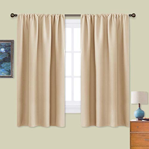 NICETOWN Room Darkening Curtains for Bedroom - Triple Weave Home Decoration Thermal Insulated Solid Window Drapes (Set of 2 Panels, 42 x 63 Inch, Biscotti Beige)