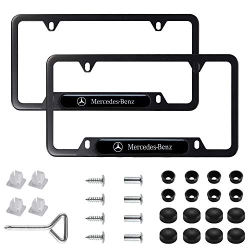 2Pcs Newest Mercedes Benz Logo Custom Personalized 4 Hole Matte Aluminum alloy License Plate Frame with Screw Caps Cover Set,Applicable to US Standard car License Frame,for Mercedes Benz(Matte Black).
