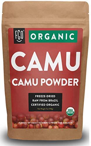 Organic Freeze-Dried Camu Camu Powder | 7oz Resealable Kraft Bag | 100% Raw From Brazil | by FGO