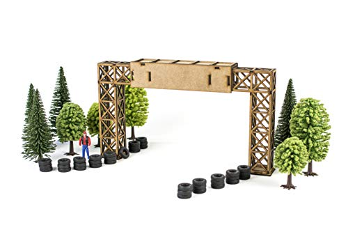 Puente publicitario maqueta 1:32 para Pistas de Slot, Kit de Madera para Montar DIY Compatible con circuitos Coches Scalextric, Ninco Slot, Scalextric Original, Carrera y ScaleAuto