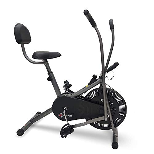 PowerMax Fitess BU-201 Dual Action Air Bike/Exercise Bike with Back Support System for Home Workout (Moving Handle + Back Support + Twister)
