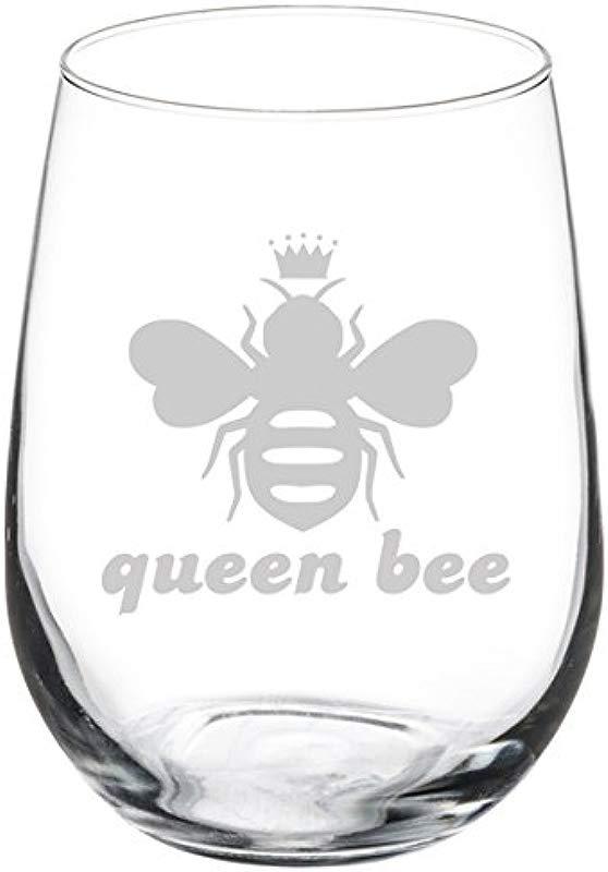 Wine Glass Goblet Queen Bee 17 Oz Stemless