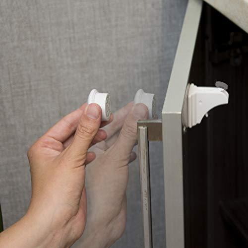Cierres magnéticos de seguridad para gabinetes y cajones, 12 unidades + 12 pegatinas transparentes para evitar que los niños se atasquen al bebé – Cierres adhesivos sin herramientas ni taladros