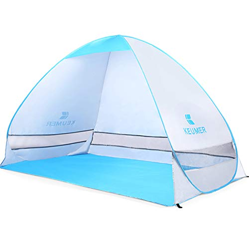 Amagoing Automatic Pop Up Beach Tent 3-4 Person Instant Tent Anti UV Sun Shelter for Outdoor Activities and Beach Traveling (Silver)