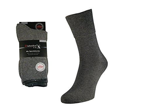 Unbekannt Herren Diabetiker Socken Gesundheitssocken ohne Gummi extra breitem Softbund 97% Baumwolle (43/46, Grau)