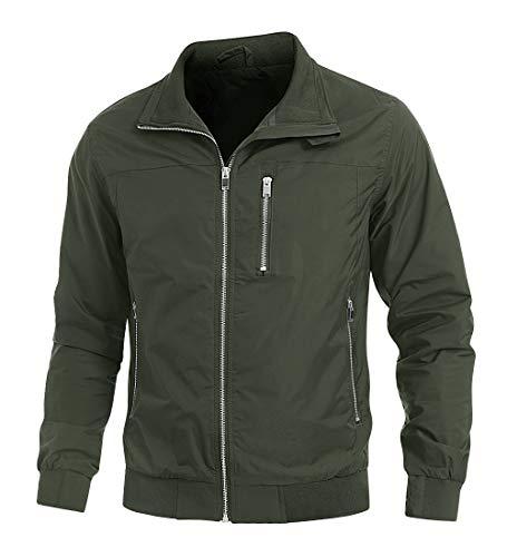 KEFITEVD - Chaqueta con cremallera para hombre, al aire libre, cortavientos, chaqueta casual con múltiples bolsillos para correr y ciclismo