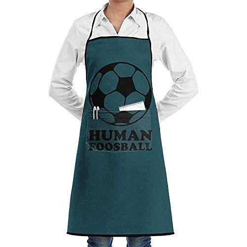 Groefod Delantal babero ajustable unisex Futbolín humano Delantales de cocina de cocina cómoda con 2 bolsillos