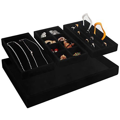 BELLE VOUS Bandeja Joyas Apilable Organizador Joyas Terciopelo Negro (Pack de 4) 35,3 x 24,2 cm - Organizador Joyas Cajones Exhibidor Secciones Desmontables Collares, Anillos, Brazaletes y Pendientes
