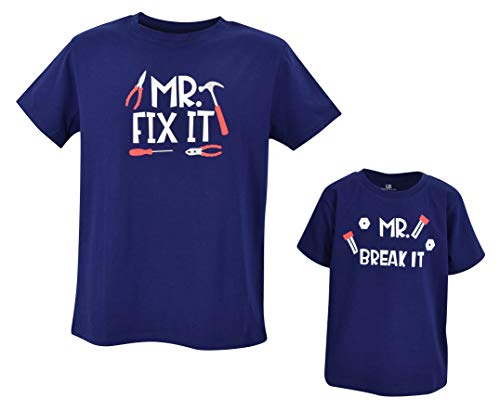 Camisas para el día del padre de la UB Daddy and Me Mr Fix It and Mr Break It,  Bebé, Bebé 12M US
