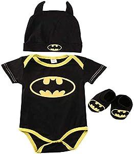 3 Unids Ropa Bebe Verano BEB¨¦S Reci¨¦N Nacidos Bebe Ni?Os Batman Mamelucos Zapatos Trajes De Sombrero Ropa Set BEB¨¦ Fresco Traje De Tela De Batman (Negra A, 80(6-12 Meses))