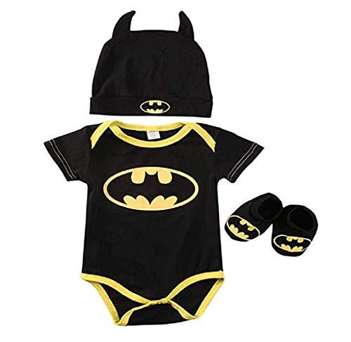 3 Unids Ropa Bebe Verano BEB¨¦S Reci¨¦N Nacidos Bebe Ni?Os Batman Mamelucos Zapatos Trajes De Sombrero Ropa Set BEB¨¦ Fresco Traje De Tela De Batman (Negra A, 90(12-18 Meses))