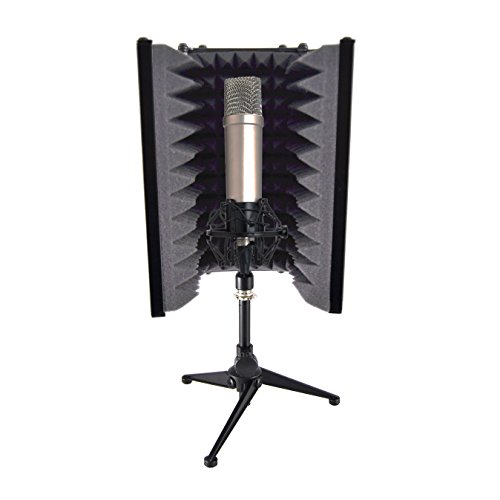 Pyle Sound Isolation Recording Booth Shield - 2' Thick Foldable Studio Microphone Dampening Filter...