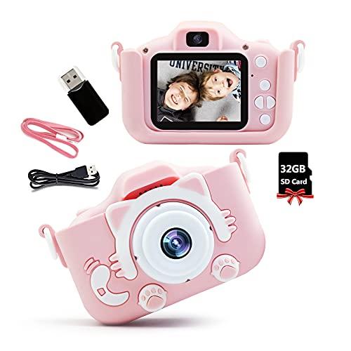 Kinderkamera Digitalkamera Kinder - Selfie Kinder Kamera Jungen Mädchen Geschenk, HD 1080P Kamera Kinder Fotoapparat mit SD Karte 32GB, Geburtstag Weihnachten Videokamera (Rosa)