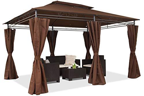 Garden Point Gazebo da Giardino Ibiza   300 x 400 cm   Rettangolare   Idrorepellente   Ideale per i mobili da Giardino e Lo Jacuzzi   Montaggio Facile  Tende in Set   Marrone