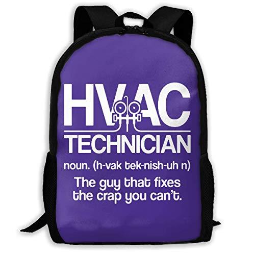 Lightweight HVAC Technician Definition Printed School Backpack Water Resistant Travel Rucksack Bag Laptop Backpack Daypack,17 Inch