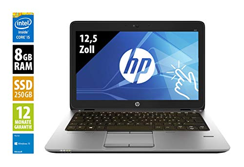 HP EliteBook 820 G3-12,5 Zoll - Core i5-6300U @ 2,4 GHz - 8GB RAM - 250GB SSD - FHD (1920x1080) - Touch - Webcam - Win10Home (Zertifiziert und Generalüberholt)
