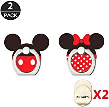 ZOEAST(TM) 2pcs Phone Ring Grip Universal 360° Adjustable Holder Car Desk Hook Stand Stent Mount Kickstand Compatible with iPhone X Plus Samsung iPad Tablet (Mickey Minnie)
