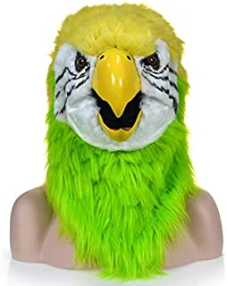 WNGCAR AU Functional Mouth Moving Furry mask Green Parrot Animal Head mask (Color : Yellow)