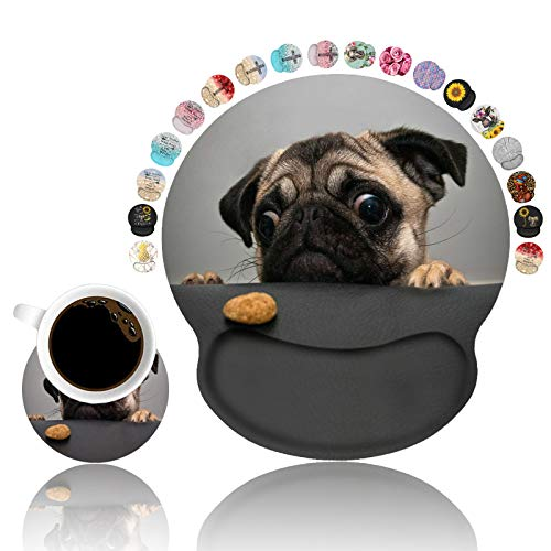 LOWORO Ergonomic Mouse Pad Wrist Support with Coasters Set, Cute Large Wrist Rest Pad with Non-Slip PU Base for Laptop Computer Home Office Working Gaming Pain Relief, Cute Pug