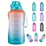 4AMinLA Botella de agua de galón motivacional con marcador de tiempo y pajita, gran capacidad, a prueba de fugas, libre de BPA, fitness, deportes, jarra de agua, anaranjado, verde