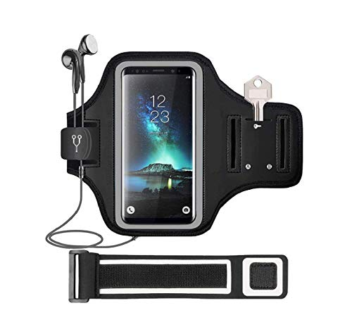 Water Resistant Cell Phone Armband Case for for iPhone 11 pro/ X/ XS /SE/8/7/6 Plus/6S,Samsung Galaxy S20 S10 S9 S8 S7 Gym Running Exercises Workouts Sports Phone Case Holder with Key Holder (Black).