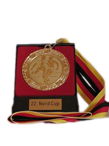 RaRu Etui mit Medaille (mit Deutschland-Band) mit Gravur und Wunschemblem. Für über 50 Sportarten verfügbar.