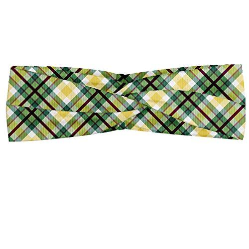 ABAKUHAUS Schotse ruit Hoofdband, Classic Squares and Stripes, Elastische en Zachte Bandana voor Dames, voor Sport en Dagelijks Gebruik, Green Dark Maroon
