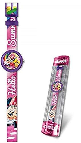 Minnie Mouse Reloj analogico flik Kids Pulsera, Adultos Unisex, Multicolor, Unico