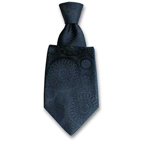 Robert Charles. Cravate. Astoria, Soie. Noir, Paisley. Fabriqué en Italie.