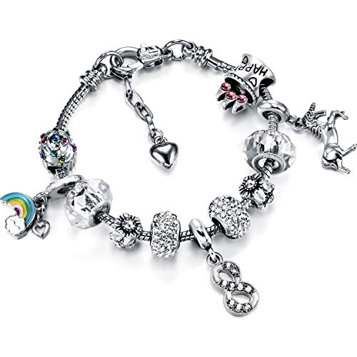 Unicorn Charm Bracelet Birthday Number Bracelet with Gift Card Box 1st 2nd...