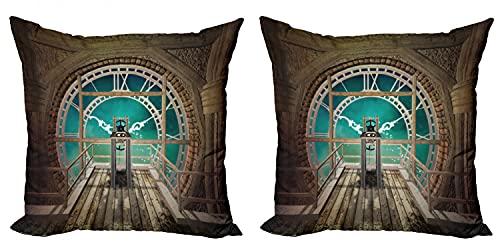 ABAKUHAUS Steampunk Set de 2 Fundas para Cojín, Fantasía Torre del Reloj, con Estampado en Ambos Lados con Cremallera, 50 cm x 50 cm, Brown pálido de la Turquesa