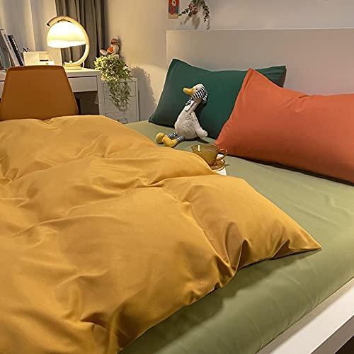 Traje de Cuatro Piezas de Contraste de Color Puro con Funda de Almohada Cama de Viento Simple Duvet Funda Dormitorio Estudiante-Mostaza Amarilla + Frijol Verde_150 * 200m