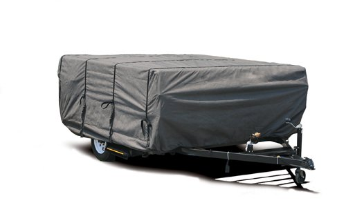 Camco 45764 14'-16' ULTRAGuard Pop-Up Camper Cover (46'H x 87'W), Grey
