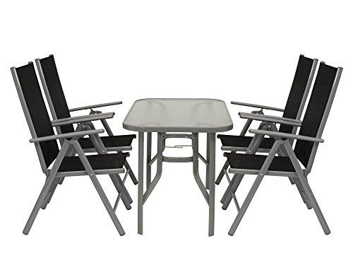 DEGAMO Garnitur Ravenna 5-teilig, 4X Alu Klappsessel mehrfach verstellbar schwarz, 1x Glastisch 70x120cm
