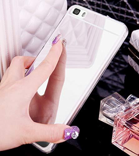 Jinghuash Coque Compatible avec Huawei P8 Lite,Miroir Coque en Silicone Ultra-Mince Etui Housse de Protection Cristal Clair Soft Gel TPU Shockproof Bumper Case Mirror Effect Cover-Argent