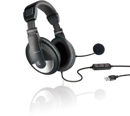 Speedlink Thebe Kopfhörer mit Mikrofon und Kabelfernbedienung (USB, integrierte Soundkarte, gepolsterte Ohrmuscheln) schwarz