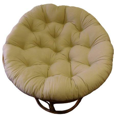 COTTON CRAFT Papasan Natural - Overstuffed Chair Cushion, Sink into Our Thick Comfortable and Oversized Papasan, Pure 100% Cotton Duck Fabric, Fits Standard 45 inch Round Chair - Chair not Included