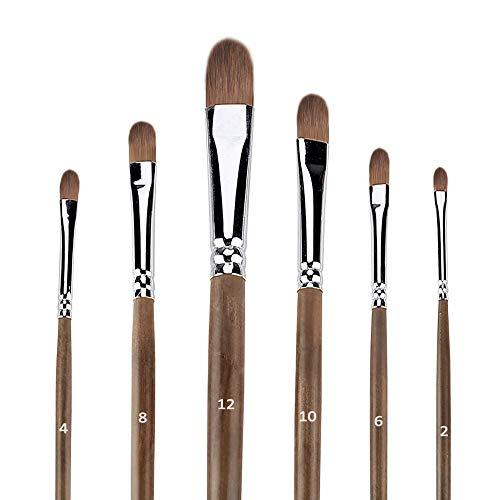 Hbsite Filbert Paint Brushes Set 6 PCS Professional Artist Ölpinsel Anti-Shedding für Acryl, Aquarell, Öl, Gesichtsbemalung und mehr