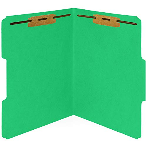 50 Green Fastener File Folders - 1/3 Cut Reinforced Tab - Durable 2 Prongs Bonded Fastener Designed to Organize Standard Medical Files, Law Client Files, Office Reports - Letter Size, Green, 50 Pack